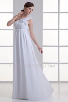 Brush Sweep Train Chiffon One-Shoulder Wedding Dresses Maternity Wedding Dresses 2031144
