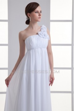 Brush Sweep Train Chiffon One-Shoulder Wedding Dresses Maternity Wedding Dresses 2031144