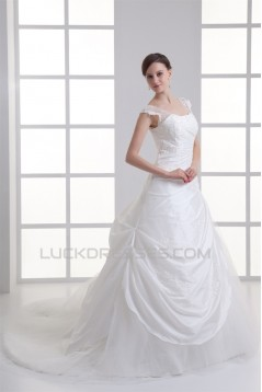 Capped Sleeves Taffeta Fine Netting Ball Gown Wedding Dresses 2031145