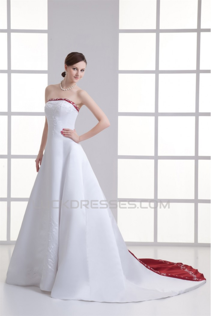 Charming Satin A-Line Sleeveless Strapless Embellished Wedding Dresses 2031147