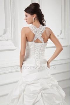 Charming Straps Taffeta Sleeveless A-Line Embellished Wedding Dresses 2031148