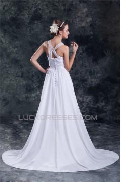 Chiffon Satin A-Line Sleeveless Scoop Sweep Train Wedding Dresses 2031149