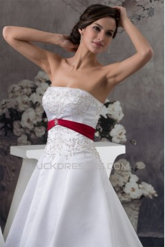 A-Line Strapless Beaded Chapel Train White Red Wedding Dresses 2030115
