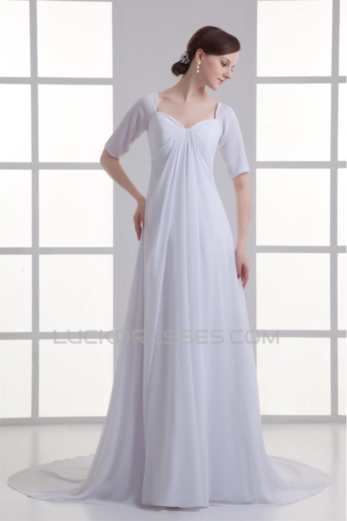 Chiffon Satin Bowl Sheath/Column Half Elbow Sleeve Wedding Dresses Maternity Wedding Dresses 2031150
