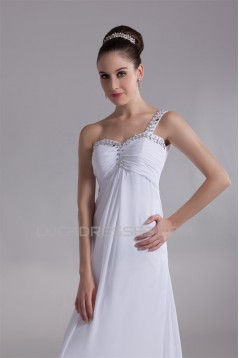 Chiffon Satin One-Shoulder Sheath/Column Reception Wedding Dresses 2031151