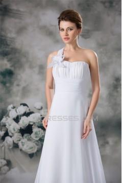 Chiffon Satin Sleeveless A-Line One-Shoulder Best Wedding Dresses 2031152