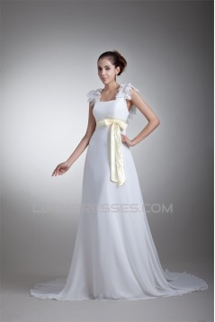 Chiffon Satin Sleeveless Straps A-Line New Arrival Wedding Dresses 2031154