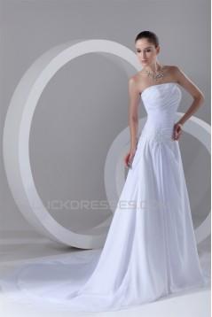 Chiffon Satin Strapless Sleeveless A-Line New Arrival Wedding Dresses 2031156