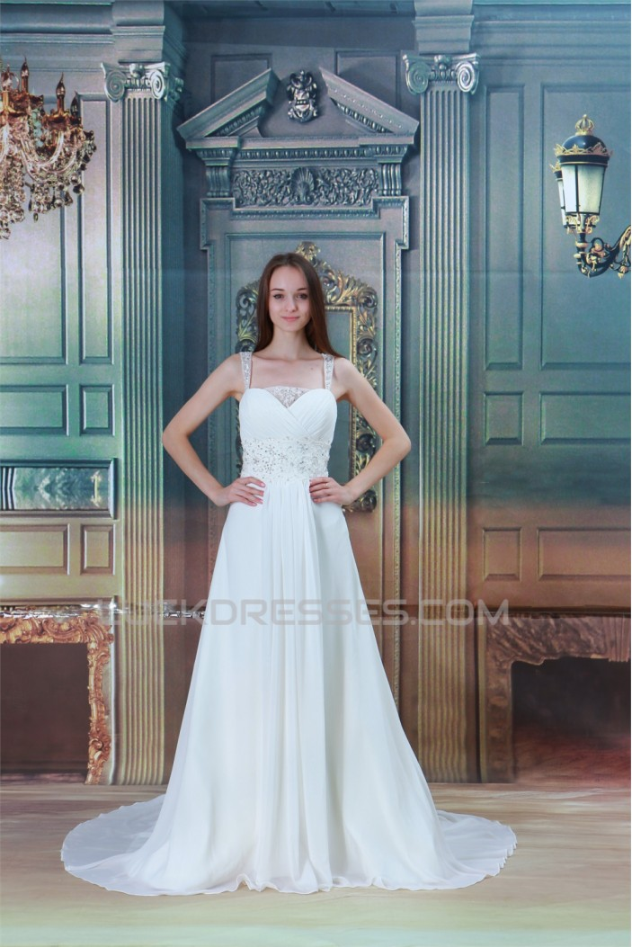 Chiffon Satin Straps A-Line Sleeveless Beaded Lace Beautiful Wedding Dresses 2031157