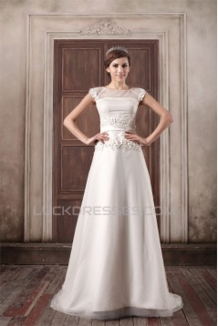 Custom Made A-Line Satin Tulle High-Neck Sweet Wedding Dresses 2031159