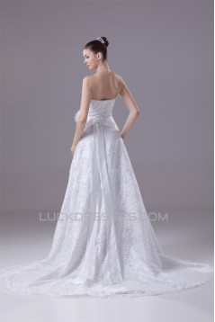 A-Line Sweetheart Beaded Lace Court Train Wedding Dresses 2030116