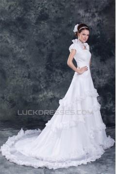 A-Line Square Short Sleeve Satin Organza Best Wedding Dresses 2031160
