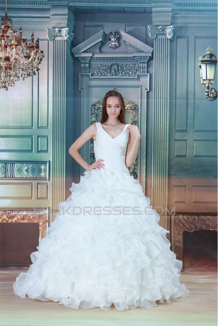 Ball Gown Sleeveless V-Neck Satin Organza Wedding Dresses 2031161