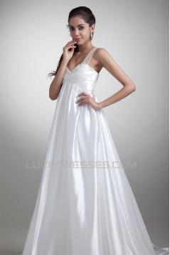 Elastic Woven Satin A-Line Straps Beautiful Wedding Dresses Maternity Wedding Dresses 2031164
