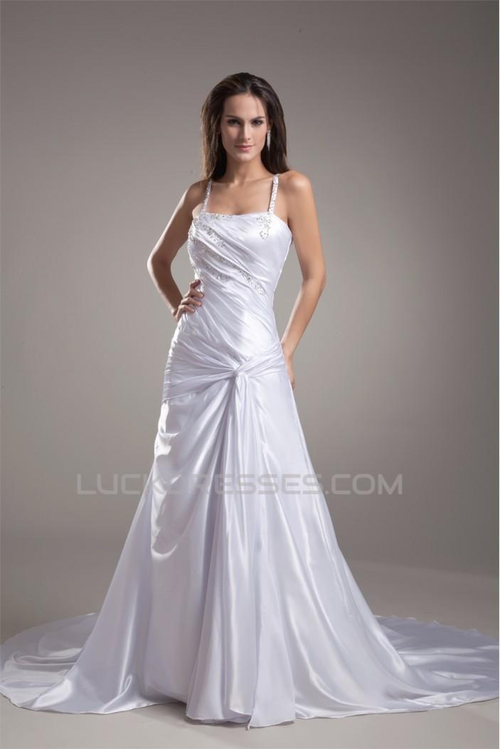 Elastic Woven Satin Sleeveless A-Line Spaghetti Straps Beaded Wedding Dresses 2031165