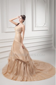 Elegant A-Line Sleeveless Taffeta Strapless Wedding Dresses 2031166