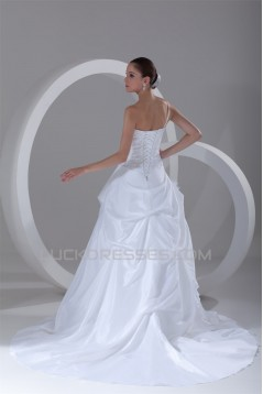 Elegant One-Shoulder A-Line Sleeveless Taffeta Lace Wedding Dresses 2031167