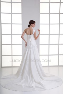 Elegant One-Shoulder Taffeta Sleeveless A-Line Wedding Dresses 2031168