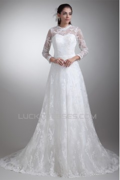 Elegant Satin Lace High-Neck 3/4 Length Sleeve A-Line Lace Wedding Dresses 2031169