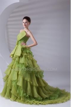 Elegant Satin Organza Ball Gown Sleeveless Strapless Wedding Dresses 2031170