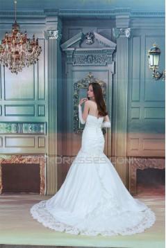Elegant Sleeveless Spaghetti Straps Mermaid/Trumpet Beaded Lace Wedding Dresses 2031172