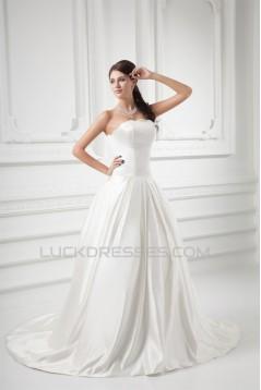 Elegant Sleeveless Strapless Ball Gown Satin Wedding Dresses 2031173