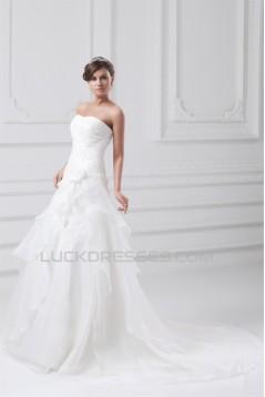 Elegant Strapless Satin Organza Sleeveless A-Line Wedding Dresses 2031174