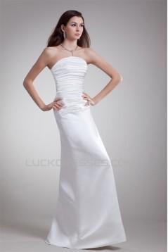 Elegant Strapless Satin Sleeveless A-Line Wedding Dresses 2031175