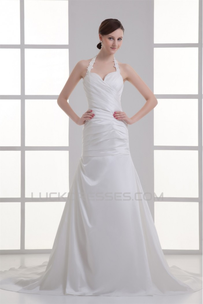 Elegant Taffeta A-Line Sleeveless Halter Wedding Dresses 2031176