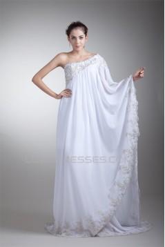 Fantastic A-Line Chiffon Satin One-Shoulder Sleeveless Wedding Dresses Maternity Wedding Dresses 2031177