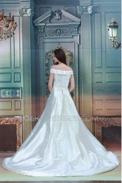 Fantastic A-Line Satin Off-the-Shoulder Sleeveless Beaded Wedding Dresses 2031178