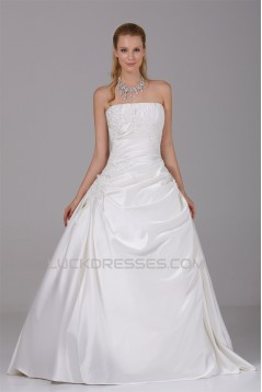 A-Line Strapless Beaded Lace Satin Wedding Dresses 2030118