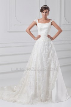 Fantastic Scoop A-Line Satin Lace Wedding Dresses 2031181