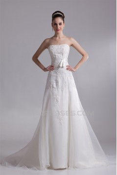 Fantastic Sleeveless Satin Organza A-Line Strapless Wedding Dresses 2031183