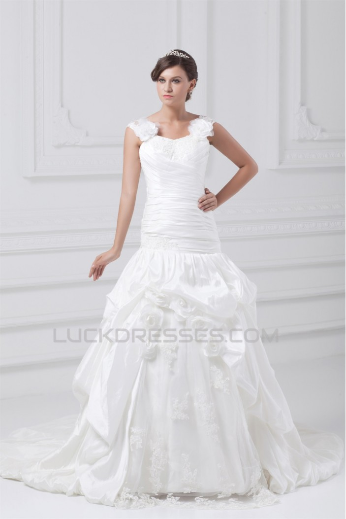 Fantastic Straps Sleeveless A-Line Taffeta Wedding Dresses 2031184