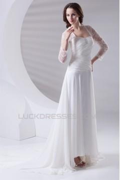 Fantastic Sweetheart A-Line Chiffon Lace 3/4 Length Sleeve Wedding Dresses 2031185