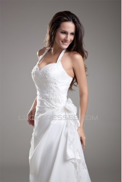 Fantastic Taffeta Sleeveless Sheath/Column Halter Wedding Dresses 2031186