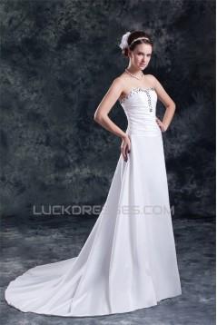 Fantastic Taffeta Sweetheart A-Line Sleeveless Beaded Wedding Dresses 2031187