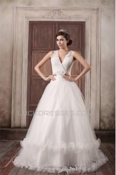 Fantastic V-Neck Princess Satin Fine Netting Wedding Dresses 2031188