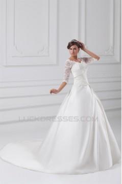 Fantastic V-Neck Satin Lace A-Line Half Elbow Sleeve Wedding Dresses 2031189