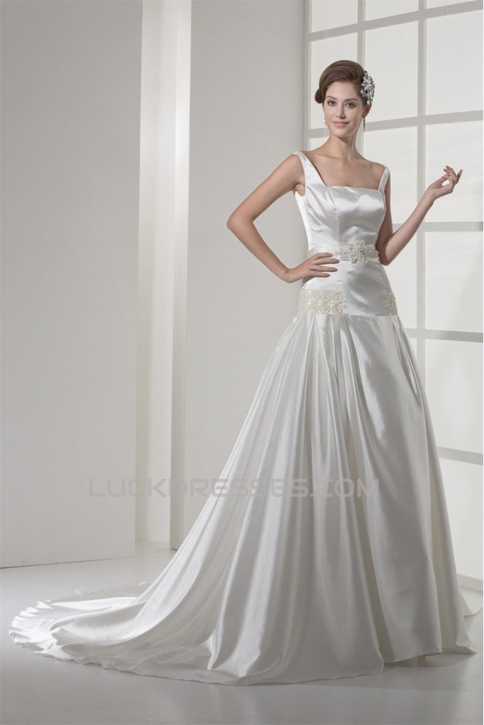 A-Line Square Chapel Train Beaded Wedding Dresses 2030119