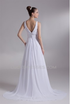Fantastic V-Neck Sleeveless Chiffon Satin A-Line Wedding Dresses 2031190