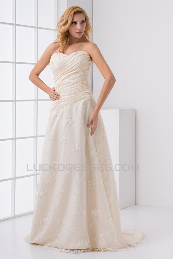 Fashionable Satin Lace Sweetheart A-Line Sleeveless Sweet Wedding Dresses 2031191