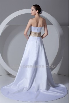 Fashionable Satin Strapless Sleeveless A-Line Wedding Dresses with Color 2031192