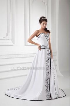 Fashionable Satin Sweetheart Sleeveless A-Line Best Wedding Dresses 2031193