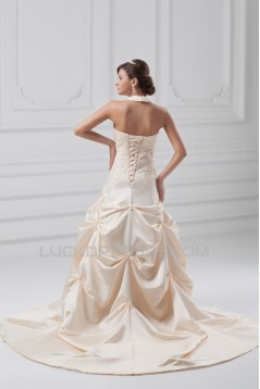 Fashionable Sleeveless Ball Gown Satin Halter Wedding Dresses with Color 2031194
