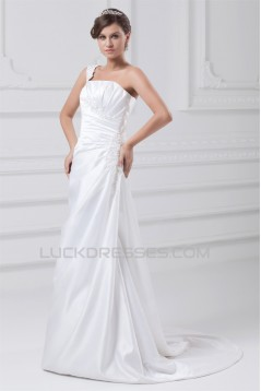 Fashionable Sleeveless One-Shoulder Satin A-Line Best Wedding Dresses 2031195