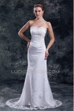 Fashionable Sleeveless Sweetheart Satin Net A-Line Best Wedding Dresses 2031196