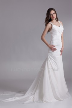 Fashionable Straps Sleeveless A-Line Taffeta New Arrival Wedding Dresses 2031197