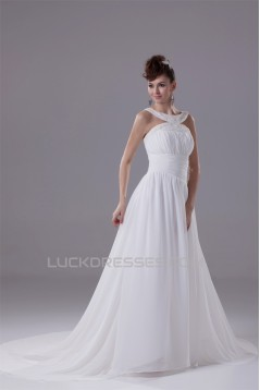 Elegant A-Line Chiffon Silk like Satin Straps Beaded Wedding Dresses 2030120